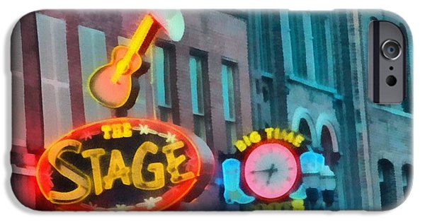 Nashville Tennessee Paintings iPhone Cases - The Stage On Broadway iPhone Case by Dan Sproul