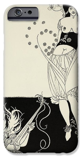 Erotic Dancer iPhone Cases - The Stomach Dance iPhone Case by Aubrey Beardsley