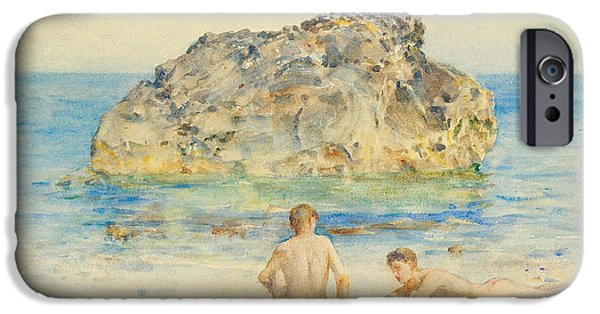 Homo-erotic iPhone Cases - The Sunbathers iPhone Case by Henry Scott Tuke