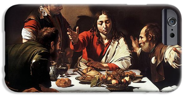 Caravaggio iPhone Cases - The Supper at Emmaus  iPhone Case by Caravaggio