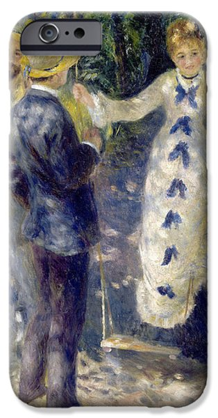1876 Paintings iPhone Cases - The Swing iPhone Case by Pierre-Auguste Renoir