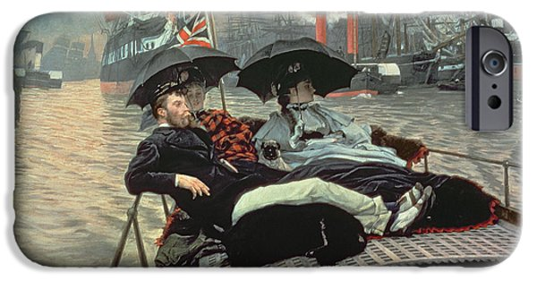 1876 Paintings iPhone Cases - The Thames iPhone Case by James Tissot