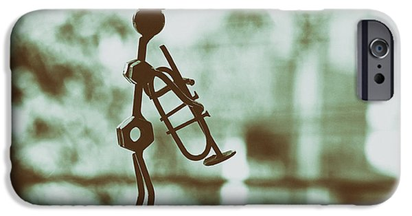 Celebrities Sculptures iPhone Cases - The Trumpet Player iPhone Case by Mountain Dreams
