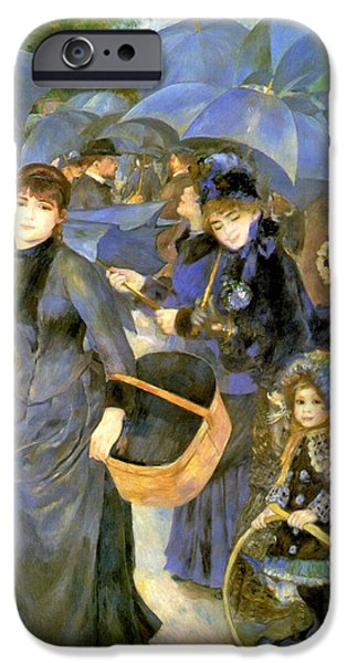 Little Girl iPhone Cases - The Umbrellas iPhone Case by Pierre Auguste Renoir