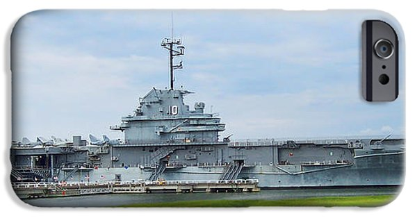 Yorktown iPhone Cases - The USS Yorktown Aircraft Carrier  iPhone Case by Kathy Clark