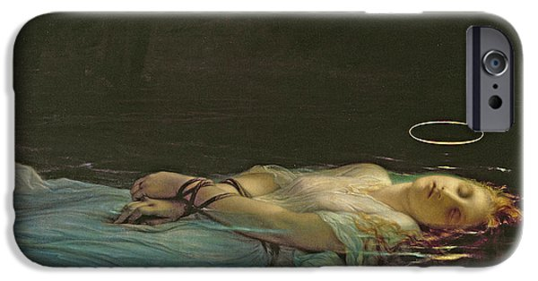 Floating Girl Paintings iPhone Cases - The Young Martyr iPhone Case by Hippolyte Delaroche
