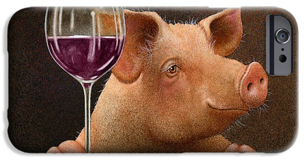 Bullis iPhone Cases - This Little Piggy Went Wine Tasting... iPhone Case by Will Bullas