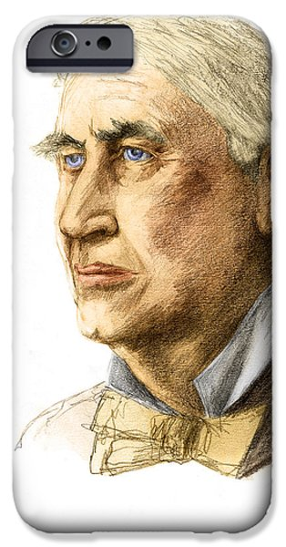 Thomas Alva Edison iPhone Cases - Thomas Edison, American Inventor iPhone Case by Spencer Sutton
