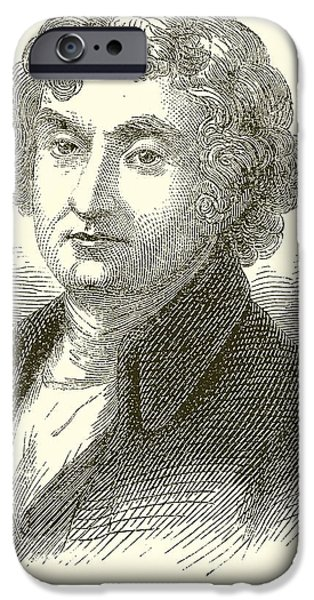 Thomas Drawings iPhone Cases - Thomas Jefferson iPhone Case by English School