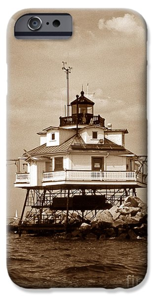 Annapolis Md iPhone Cases - Thomas Point Shoal Lighthouse Sepia iPhone Case by Skip Willits