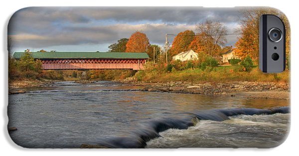 Old North Bridge iPhone Cases - Thompson Covered Bridge 2 iPhone Case by Joann Vitali