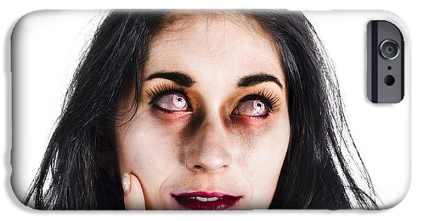 Youthful iPhone Cases - Thoughtful zombie iPhone Case by Ryan Jorgensen
