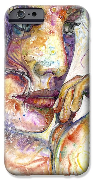 Lips Mixed Media iPhone Cases - Thoughts iPhone Case by Frank Robert Dixon