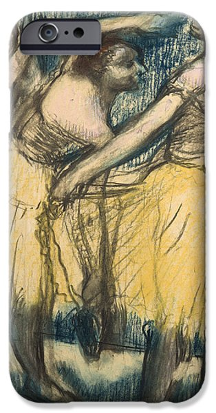 Blue Pastels iPhone Cases - Three dancers in yellow skirts iPhone Case by Edgar Degas