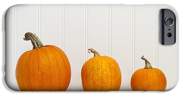 Three Sizes iPhone Cases - Three pumpkins iPhone Case by Elena Elisseeva