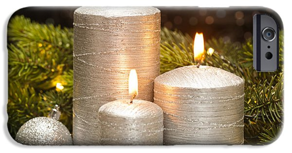 Christmas Greeting iPhone Cases - Three Silver Candles iPhone Case by Ulrich Schade
