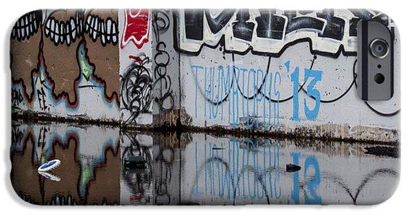 Urban Photographs iPhone Cases - Three Skulls Graffiti iPhone Case by Carol Leigh