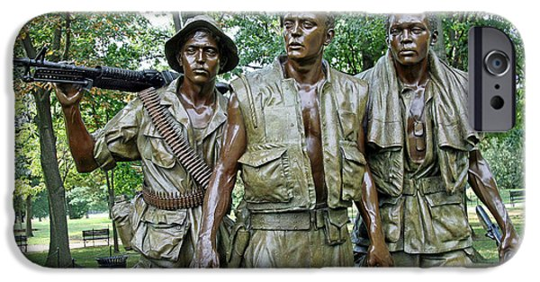 Cora Wandel iPhone Cases - Three Soldiers Statue iPhone Case by Cora Wandel