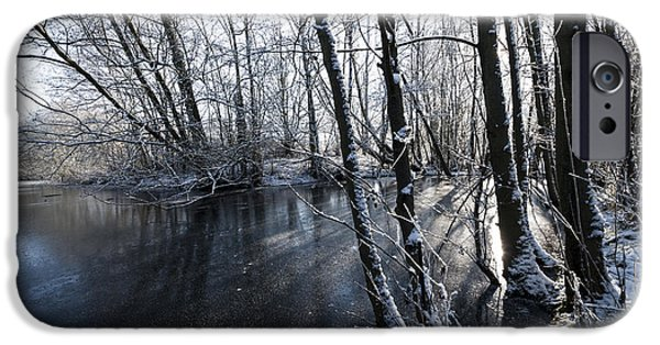Snowy Stream iPhone Cases - Through the Trees iPhone Case by Svetlana Sewell