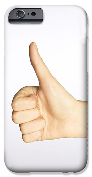 Positive Attitude iPhone Cases - Thumbs Up iPhone Case by Alan Marsh