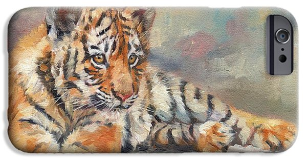 Young Paintings iPhone Cases - Tiger Cub iPhone Case by David Stribbling