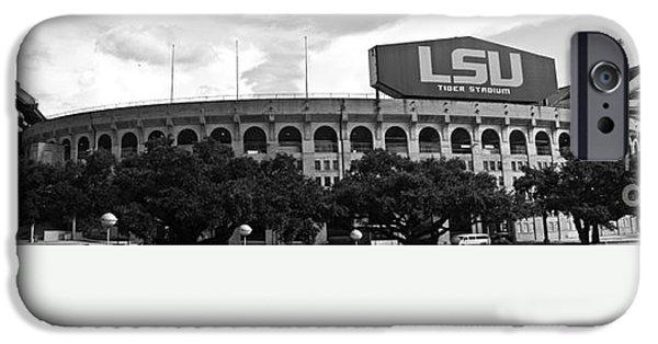 Lsu iPhone Cases - Tiger Stadium Panorama iPhone Case by Scott Pellegrin