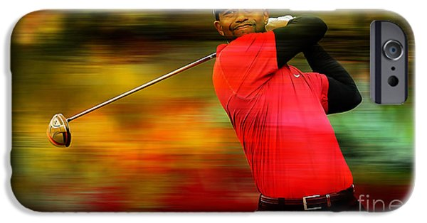 Sports iPhone Cases - Tiger Woods iPhone Case by Marvin Blaine