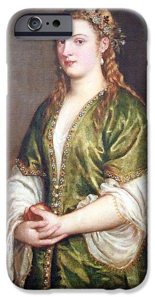 Cora Wandel iPhone Cases - Titians Portrait Of A Lady iPhone Case by Cora Wandel