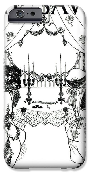 Pen And Ink Illustration iPhone Cases - Title Page from The Savoy iPhone Case by Aubrey Beardsley
