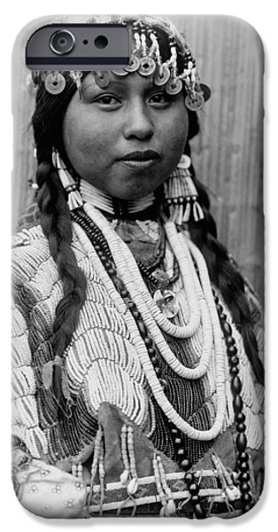 Braids iPhone Cases - Tlakluit Indian woman circa 1910 iPhone Case by Aged Pixel