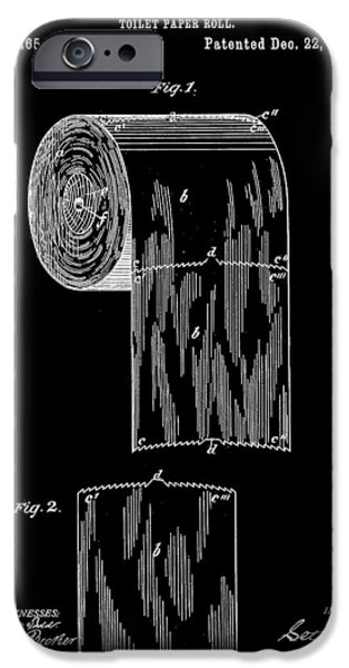 Ply iPhone Cases - Toilet Paper Roll Patent 1891 - Black iPhone Case by Stephen Younts