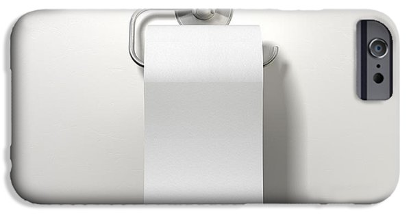 Sheets iPhone Cases - Toilet Roll On Chrome Hanger iPhone Case by Allan Swart