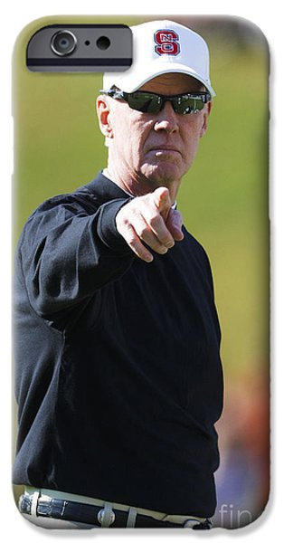 Jason O. Watson iPhone Cases - Tom OBrien NC State Football Head Coach Pointing iPhone Case by Jason O Watson