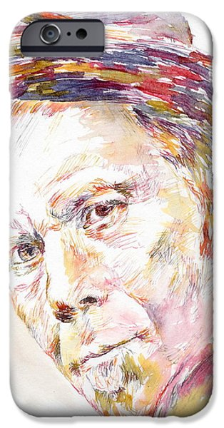 Mick Jagger Paintings iPhone Cases - Tom Waits iPhone Case by Marina Sotiriou