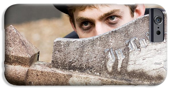 Headstones iPhone Cases - Tomb Stone Peek A Boo iPhone Case by Ryan Jorgensen