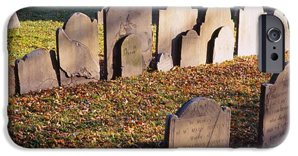 Boston iPhone Cases - Tombstones In A Cemetery, Copps Hill iPhone Case by Panoramic Images