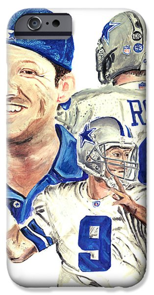 Allstar iPhone Cases - Tony Romo iPhone Case by Israel Torres