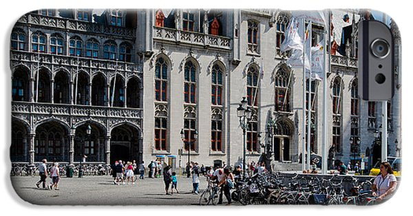 Flemish iPhone Cases - Tourists At A Market, Bruges, West iPhone Case by Panoramic Images
