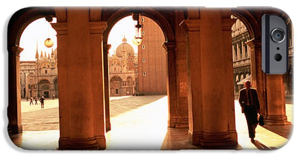 Small iPhone Cases - Tourists In A Building, Venice, Italy iPhone Case by Panoramic Images
