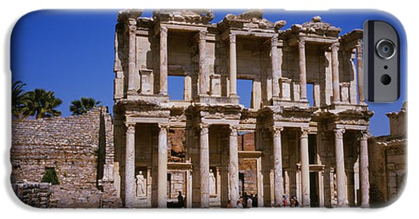 Ephesus iPhone Cases - Tourists In Front Of The Old Ruins iPhone Case by Panoramic Images