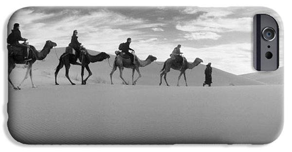 Sahara Sunlight iPhone Cases - Tourists Riding Camels iPhone Case by Panoramic Images