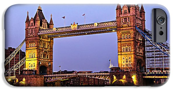 High Tower iPhone Cases - Tower bridge in London at dusk iPhone Case by Elena Elisseeva