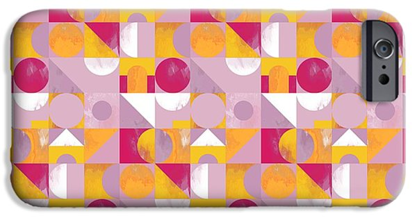 Patterned Paintings iPhone Cases - Toy Blocks  iPhone Case by Laurence Lavallee