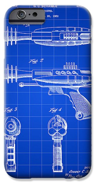 Fictional iPhone Cases - Toy Ray Gun Patent 1952 - Blue iPhone Case by Stephen Younts