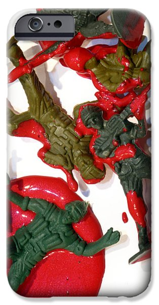 Bloody Battle iPhone Cases - Toy Soldiers in a Pool of Blood iPhone Case by Amy Cicconi
