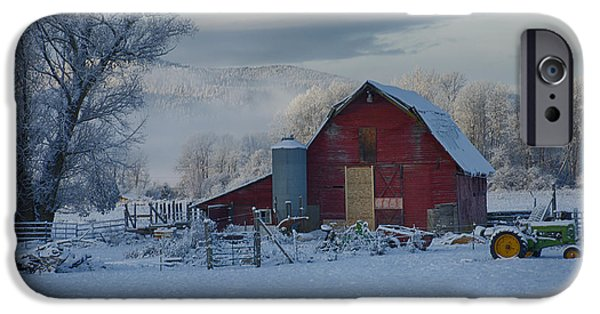 Snowy Day iPhone Cases - Tractor and barn iPhone Case by Idaho Scenic Images Linda Lantzy