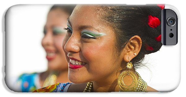 Toothy Smile iPhone Cases - Traditional Ethnic Dancers in Chiapas Mexico iPhone Case by David Smith