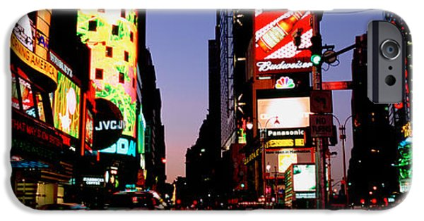 Board iPhone Cases - Traffic On A Road, Times Square, New iPhone Case by Panoramic Images