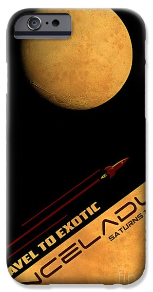 Vintage Travel iPhone Cases - Travel to Enceladus iPhone Case by Cinema Photography