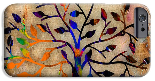 Backgrounds iPhone Cases - Tree Of Life Painting iPhone Case by Marvin Blaine